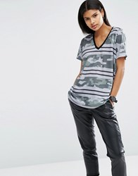 Asos T Shirt In Camo And Stripe Print Multi
