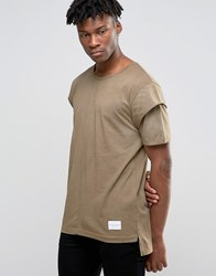 Criminal Damage T Shirt With Layered Sleeves Green