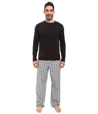 Calvin Klein Underwear Pj Set Long Sleeve Knit Jade Plaid Black Black Drawcord Men's Pajama Sets