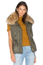 Sam. Dakota Vest With Asiatic Raccoon Fur Olive