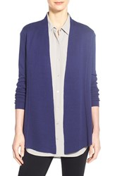 Women's Eileen Fisher Lightweight Silk And Organic Cotton Straight Long Cardigan Sapphire