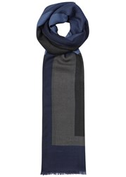 Pal Zileri Block Print Fine Knit Wool Scarf Blue