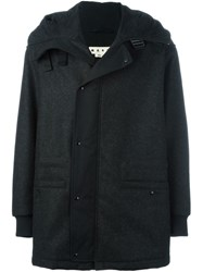 Marni Melange Shetland Wool Felt Hooded Coat Grey