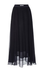 Prabal Gurung Chiffon Midi Skirt Black