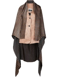 Uma Wang Striped Waistcoat With Trail Brown