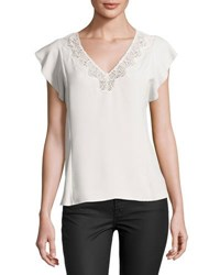 Rebecca Taylor Crepe Lace Trim Sleeveless Top White