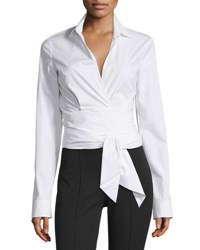 Michael Kors Long Sleeve Wrap Front Blouse White