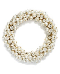 Charter Club Gold Tone Glass Pearl And Bead Cluster Bracelet