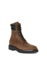 Saint Laurent Army Combat Leather Boots Brown