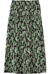 Marni Pleated Floral Print Silk Midi Skirt Green
