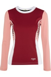 Fendi Printed Paneled Stretch Jersey Top Claret