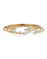 Lydell Nyc Golden Open Wire Bangle Set W Pearly End Caps Women's