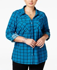 Ny Collection Plus Size Printed Utility Shirt Pool Roomtile