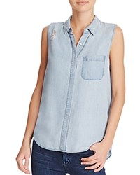 Dl1961 N7th And Kent Sleeveless Chambray Shirt The Blue Shirt Shop Midwash Distressed