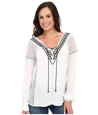Scully Honey Creek Mackenzie Frayed Edge Top White Women's Clothing