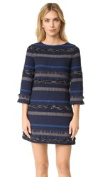 Alice Olivia Evelina Bell Sleeve A Line Dress Blue Multi