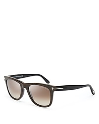 Tom Ford Leo Wayfarer Sunglasses Brown Wood Effect Black