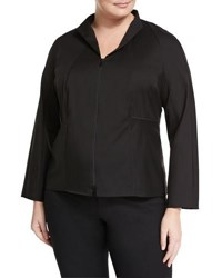 Lafayette 148 New York Kerry Zip Front Blouse W Stand Collar Black