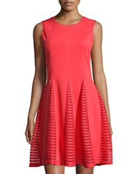 A.Z.I. Sleeveless Lace Panel Fit And Flare Dress Red