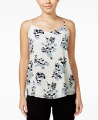 Hippie Rose Juniors' V Neck Strappy Cami Blue Floral