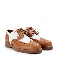 Loro Piana Affin Breeze Leather Brogues Tobacco White