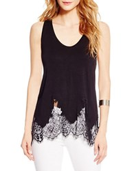 Jessica Simpson Lace Trimmed Tank Top Black