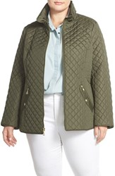 Plus Size Women's Ellen Tracy Zip Front Quilted Jacket Moss