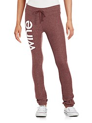 Wildfox Couture Letter Printed Jogger Pants Burgundy