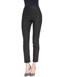 Lela Rose Catherine Reptile Jacquard Pants Black