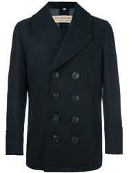 Burberry Double Breasted Coat Blue