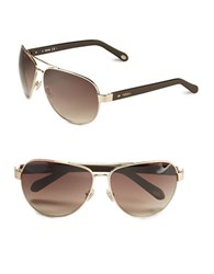 Fossil 63Mm Aviator Sunglasses Light Gold