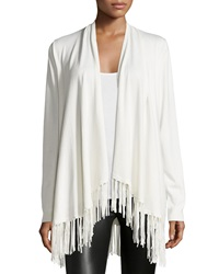 Chelsea And Theodore Fringe Trim Open Front Cardigan Ivory Towe