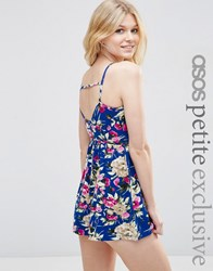 Asos Petite Wrap Front Playsuit With Strappy Back In Summer Floral Print Multi