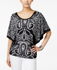 Jm Collection Printed Butterfly Sleeve Top Only At Macy's Deep Black