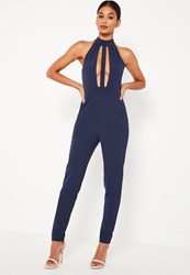 Missguided Blue Front Strap Plunge Sleeveless Jumpsuit Navy