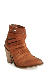 Free People Women's 'Hybrid' Strappy Leather Bootie Terracotta Leather