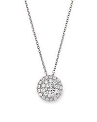 Bloomingdale's Diamond Halo Pendant Necklace In 14K White Gold 0.75 Ct. T.W.
