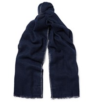 Brunello Cucinelli Contrast Tipped Cashmere And Silk Blend Scarf Navy