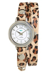 La Mer 'Del Mar' Leather Strap Wrap Watch 19Mm Retro Leopard