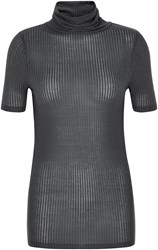 Soaked In Luxury Short Sleeved Top With Roll Neck Charcoal
