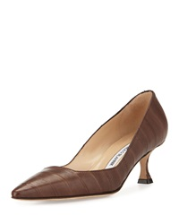 Manolo Blahnik Twixpla Low Heel Eelskin Pump Brown