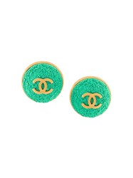 Chanel Vintage Oversized Cc Button Clip On Earrings Metallic