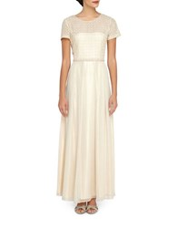 Tahari By Arthur S. Levine Embroidered Popover Gown Gold