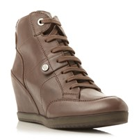 Geox Illusion D4454a Velcro Strap High Wedges Taupe