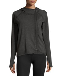 Neiman Marcus Long Sleeve Hooded Asymmetric Zip Jacket Black