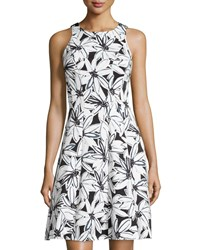 Maggy London Floral Sleeveless Fit And Flare Dress Black Soft White