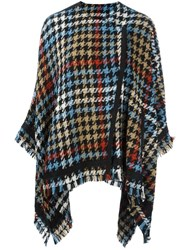 Etro Houndstooth Pattern Cape Multicolour