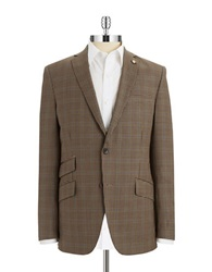 Ted Baker Checkered Wool Blazer Taupe