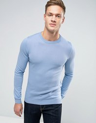 Asos Cotton Crew Neck Jumper In Muscle Fit Denim Blue