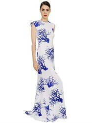 Francesco Scognamiglio Coral Printed Viscose Crepe Dress